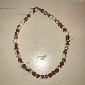 Jewelry - Orange and white beaded necklace
